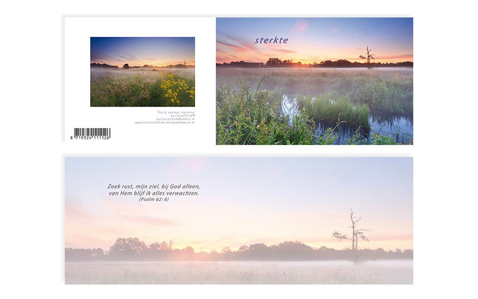 A6 kaart met sterkte voorop en binnenin de tekst: Zoek rust, mijn ziel, bij god alleen, van Hem blijf ik alles verwachten